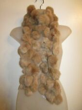100% Rabbit Fur Scarf Soft Light Camel Brown Pom Winter Party Warm CHIC Thick