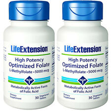 L-Methylfolate 5000mcg High Potency Optimized Folate Life Extension 2X30 Pills