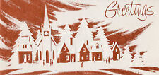 Vintage Christmas Card: Mid-Century Modern Village in Snow - Copper Tones