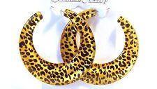 LEOPARD HOOP EARRINGS GOLD OR SILVER TONE LEOPARD SPOT 2.5 INCH ANIMAL PRINT