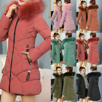 Long sleeves Parka Down Fur Collar Winter Hooded Coat Women's Quilted Jacket