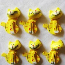 Easter Yellow Cats Wood Stickers 3D Animal Kids Garden Spring Crafts Decorations