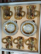 Turkish Tea Set (of 6) With Saucer Gold Plated Holder Glass Cups Ottoman
