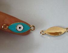 7 green evil eye charm pendant connector gold tone enamel UK
