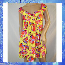 VTG BETSEY JOHNSON Yellow Floral Rose Swim Dress Cover up Bikini * Size M