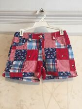 NWT Janie And Jack Girls Patchwork Shorts 7 Red/Blue