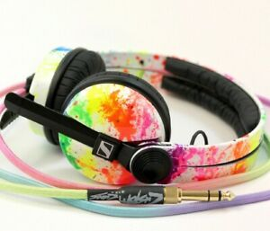 UV Rainbow Sennheiser HD25 by Custom Cans with glowing white or rainbow cable