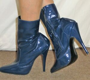 Sexy Blue Patent Leather Ankle Boots Stiletto Heels With Inside Zip UK 8 EU 41