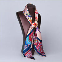 100% silk scarf square satin silk with hand-rolled edge