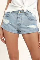 AMUSE SOCIETY DENIM JEAN CUT OFF SHORTS DAISY DUKE DISTRESSED DESTROYED RIPPED
