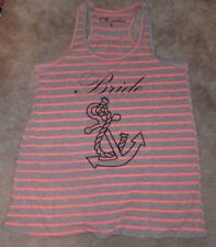 NEW CLEMENTINE Bride Anchor Tank Top Women Ladies L Large Pink Grey NWT