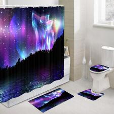 Aurora Fantasy Wolf Shower Curtain Toilet Cover Rug Bath Mat Contour Rug Set