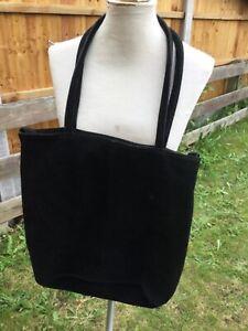 Large black suede leather shoulder bag