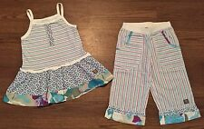 NAARTJIE SIZE 7 6 ZAZA RAINBOW STRIPE FLORAL PRIINT TUNIC TOP CAPRIS WHITE COOL