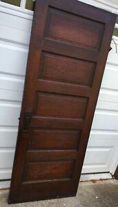 Antique Ornate Victorian Raised 5 Panel Wood Door - Architectural Salvage