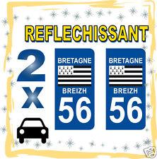 2 stickers REFLECHISSANT département 56 rétro-réfléchissant immatriculation AUTO