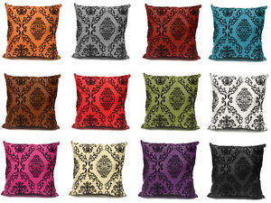"Damask Flock Velvet Print Silk Decorative Cushion Cover Pillow Case 43 cm or 17"""