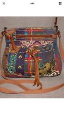 Cute! FOSSIL Purse Canvas Colorful Vintage Patchwork Brown Leather Crossbody Bag