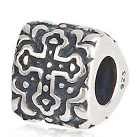 Cross Charm Bead 925 Sterling Silver