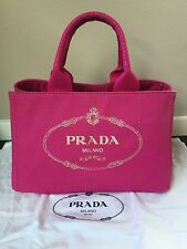 Brand New 100% Auth PRADA CANAPA Canvas Tote Bag BN1877 In Fuxia