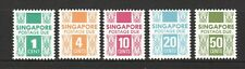 SINGAPORE 1978 POSTAGE DUE 4TH ISSUE COMP. SET OF 5 STAMPS SC#J9a-J13a MINT MNH