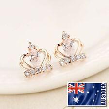 Lady 925 Sterling Silver Cute Crystal Crown Stud Earrings Elegant Gift Jewelry