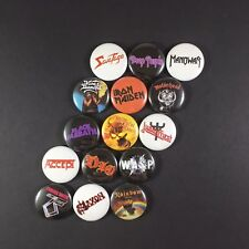 "Heavy Metal 1"" Button Pin Lot Iron Maiden Judas Priest WASP Accept King Diamond"