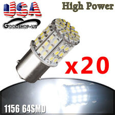 20X 1156 64SMD 6000K  Pure White Tail Brake Stop DRL LED Light Bulbs 1073 1141