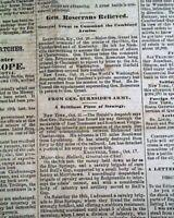 ULYSSES S. GRANT Promoted Major General of  U.S. Army 1863 Civil War Newspaper