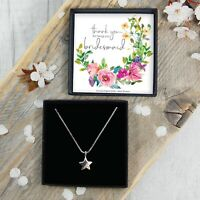REAL Silver Thank You Bridesmaid Star Necklace Gift Boxed Jewellery FREE Postage