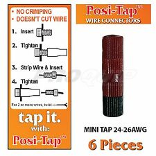 POSI-TAP MINI TAPS 24-26 AWG WIRE CONNECTORS, REUSABLE, NO CRIMPING - 6 PK