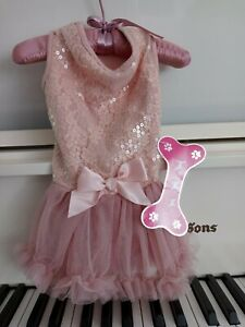 "NWT Pawpatu Dog Soft Pink Bow tutu Ruffle Dress Ballerina Birthday Medium 13-15"""