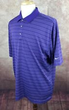 Nike Golf Dri-Fit Polo Short Sleeve 100% Polyester Purple Stripe Shirt Men's XL