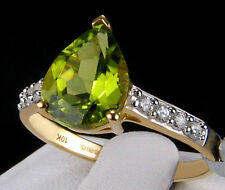 2.81ct Changbai Peridot Solitaire w/Accents 10k Solid Yellow Gold Ring Size 8