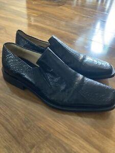 Mens Genuine Leather Crocodile Print Shoes, Black, Soze 7.5uk, Paciotti