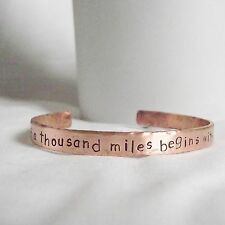 """Lovely Handmade Copper """"a journey of a thousand miles..."""" Statement Cuff Bangle"""