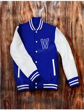 Men's Blue Letterman Baseball Jacket Varsity Top College School Team Jersey Coat