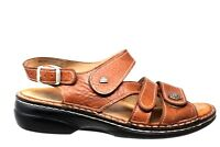 Finn Comfort Gomera Plisseelight Brown Leather Sandals Womens Size 37-6/6.5