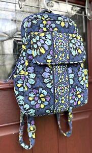 VERA BRADLEY Tablet Purse Campus Style Backpack Indigo Pop Floral Blue Purple