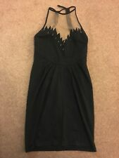 Kate Moss for Topshop Mesh Panelled Halter Neck Flame Dress Uk 8 10 Bodycon