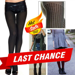 Autumn Winter Soft Vintage Retro Houndstooth Tights Pinup Girl Striped Pantyhose