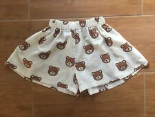 White High Waisted Casual Shorts Gather Waist Bear Print 78cm Approx XS/S