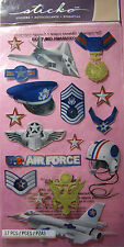 NEW 17 pc AIR FORCE  Fighter Jet USAF Stealth Helmet Wings Stars STICKO Stickers