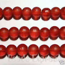 50pc 6mm Quality Frosted Round Glass Beads - Red (FG604)