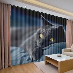 Blue Bed Covers Cat 3D Curtain Blockout Photo Printing Curtains Drape Fabric