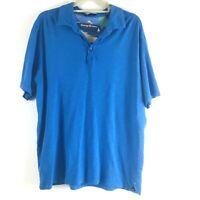 Tommy Bahama Mens L Short Sleeve Shirt Blue Stretch Shirt EUC Cotton Polo