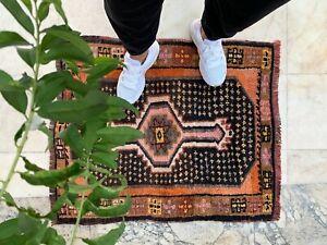 "Handmade Vintage Anatolian Turkish Small Tribal Carpet Bath Mat 34""x28"""