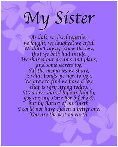 Personalised My Sister Poem Birthday Anniversay Leaving Christmas Gift Present