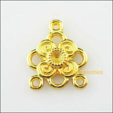 12 New Flower Clover Charms Gold Plated Connectors Pendants 17x20mm