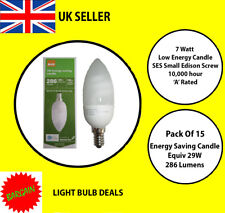 PACK OF 15 X 7 WATT SES LOW ENERGY CANDLE BULB A RATED 10000 HOUR A RATED NEW